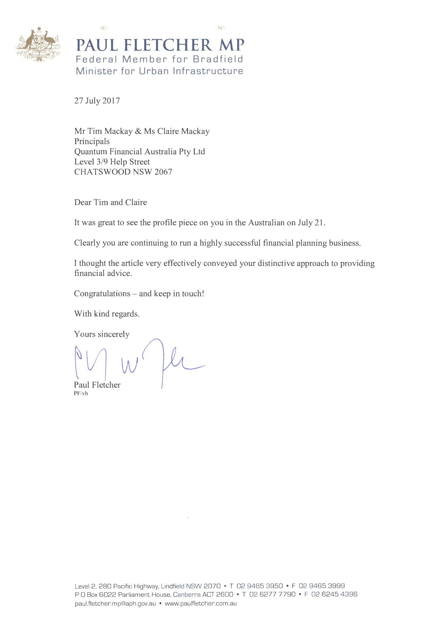 Letter from Paul Fletcher